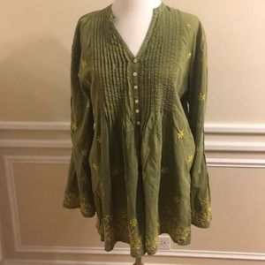 Roberta Roller Rabbit Green Embroidered Coverup
